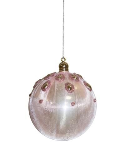A.P.Bombka z perłami różowa 1szt