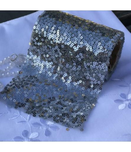 AM Wstążka cekinowa srebro