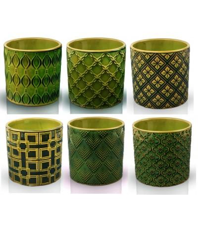 P.Vintage Osłonka ceramiczna cylinder 13 szmaragd