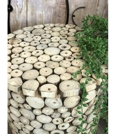 AM Stołek 45cm plastry drewna
