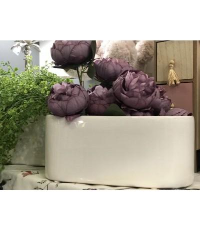 Osłonka ceramiczna Ogródek h-15, d-40 Biały
