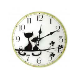 Zegar szklany Koty czarne