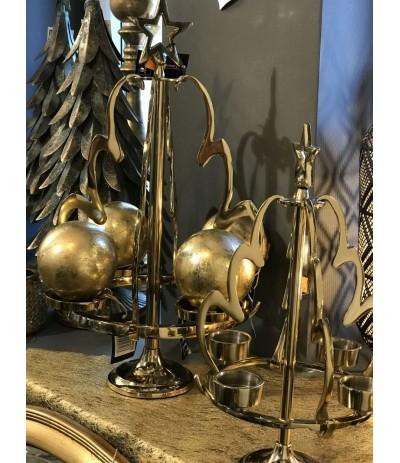 Świecznik metalowy złoty