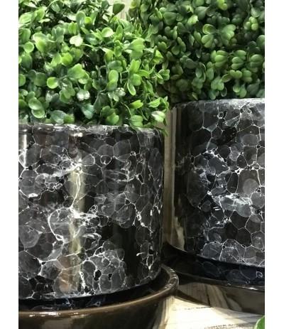 Dolagra Donica ceramiczna czarny mamrmur  + podstawka