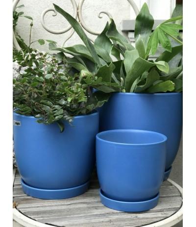 Dolagra Donica ceramiczna z podstawkiem Matt Comflower Blue