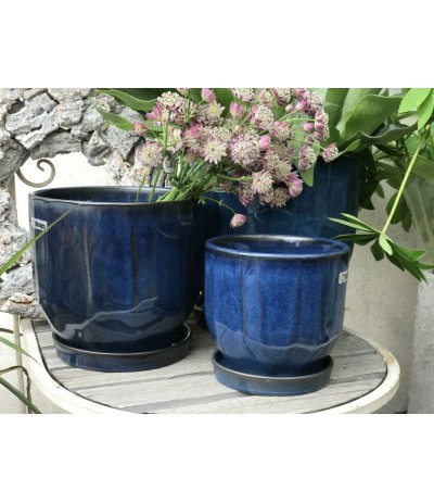 Dolagra Donica ceramiczna z podstawkiem Dark Blue
