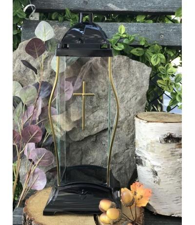 Lampion szklany czarne złoto