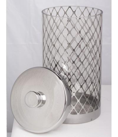A.P.Pojemnik szklany srebro wysoki
