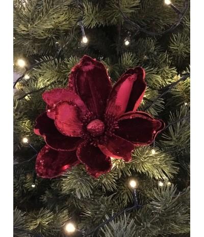 Sztuczna Magnolia Brokat czerwień