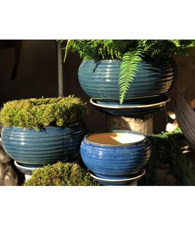 Dolagra Donica ceramiczna z podstawką niska Kobalt