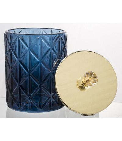 A.P.Szkalny pojemnik z przykrywką złoto-kobalt