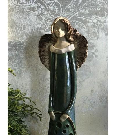 B.Anioł ceramiczny Ażurowy Szmaragd