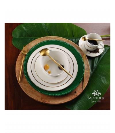 M.Mirella Gold Talerz deserowy Biel i złoto