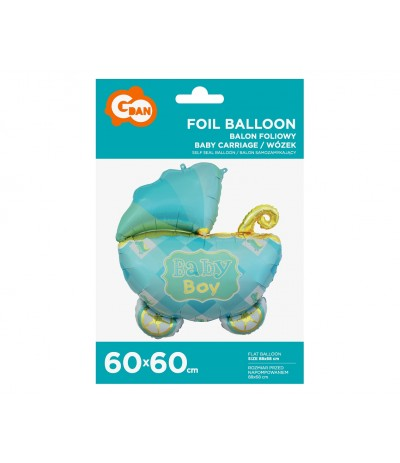 G.Balon foliowy Wózek niebieski 60 cm