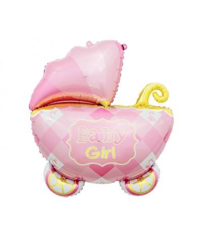 G.Balon foliowy Wózek różowy 60 cm