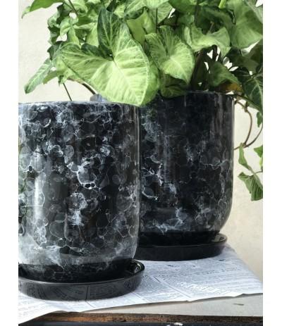 Dolagra Donica ceramiczna z podstawką Marmur
