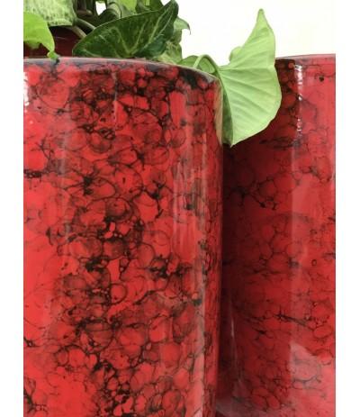 Dolagra donica ceramiczna z podstawką smukła Czerwień