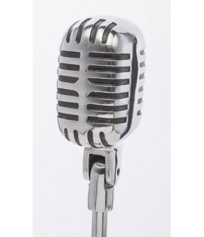 A.P.Mikrofon metalowy srebro-dekoracja