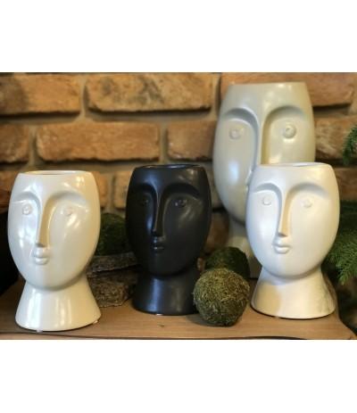 E.Wazon ceramiczny Głowa Beż