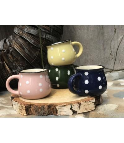 Kubek ceramiczny Espresso Kropki Zieleń