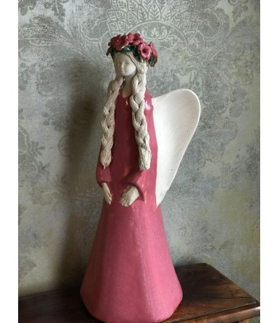 B.Anioł ceramiczny Wiosna Różowy
