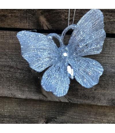 AM Zawieszka Motyl Srebro 11cm 2szt