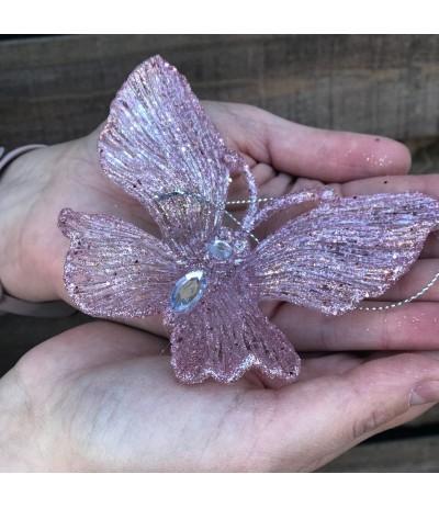 AM Zawieszka Motyl Róż 11cm 2szt