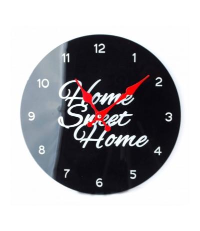 Zegar szklany Home Sweet czarny