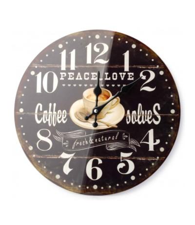 Zegar szklany okrągły fi34 Coffee