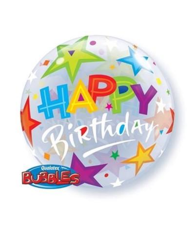 Bubbles Balon foliowy Happy Birthday z gwiazdkami 56cm