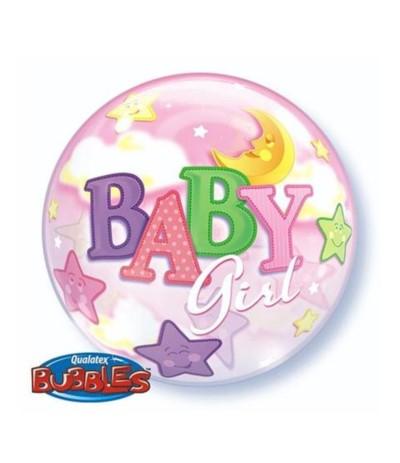 Bubbles Balon foliowy 56cm Baby girl Księżyc