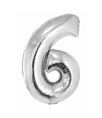 G.Balon foliowy cyfra 85cm 6 srebrny