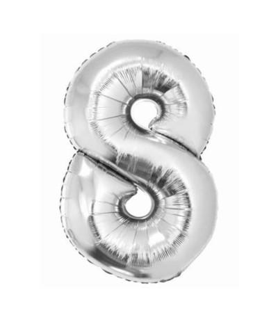 G.Balon foliowy cyfra 85cm 8 srebrny
