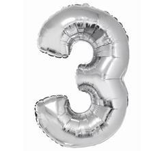 G.Balon foliowy cyfra 85cm 3 srebrna
