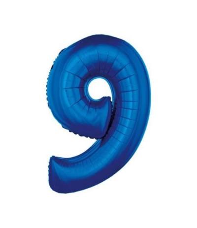 G.Balon foliowy cyfra 85cm 9 niebieska