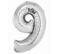 G.Balon foliowy cyfra 85cm 9 srebrna