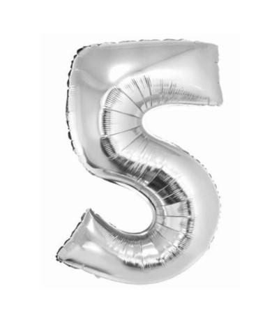 G.Balon foliowy cyfra 85cm 5 srebrna
