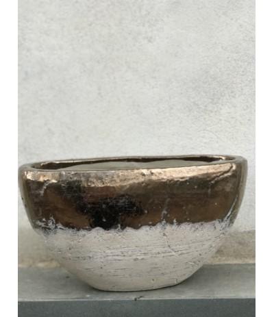 J.Naczynie ceramiczne owalne M złote