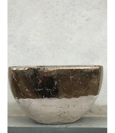 J.Naczynie ceramiczne owalne L złote