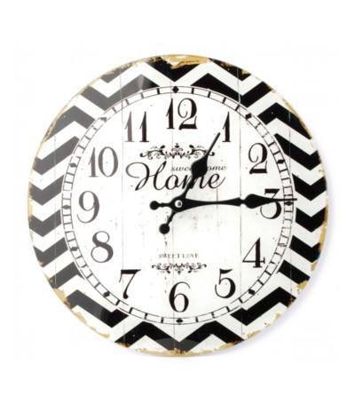 M.Zegar szklany fi30 biało-czarny