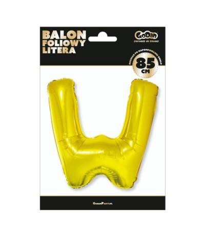 G.Balon foliowy litera 85cm złota W
