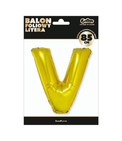 G.Balon foliowy litera 85cm złota  V