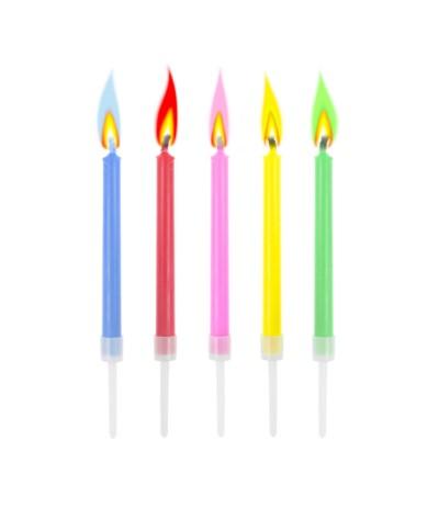 G.Świeczki urodzinowe Kolorowe płomienie 10szt