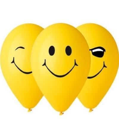 G.Balony 3 uśmiechy żółte 5szt
