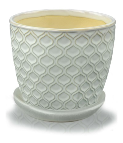 P.Vintage Doniczka ceramiczna z podst 12 krem