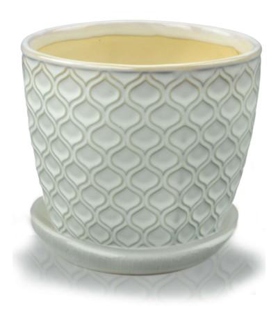 P.Vintage Doniczka ceramiczna z podst 17 krem