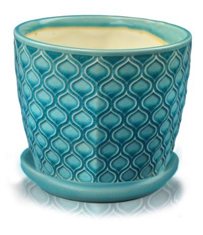 P.Vintage Doniczka ceramiczna z podst 14 turkus