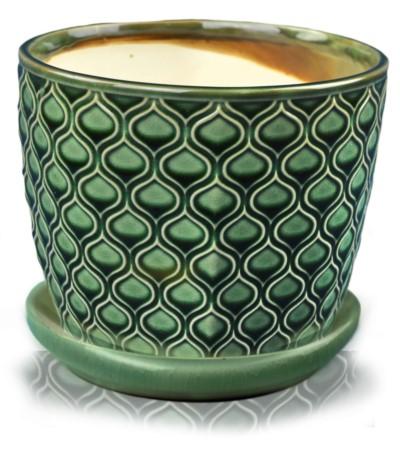 P.Vintage Doniczka ceramiczna z podst 14 szmaragd