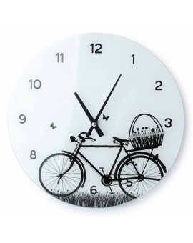 Zegar szklany Rower czarny