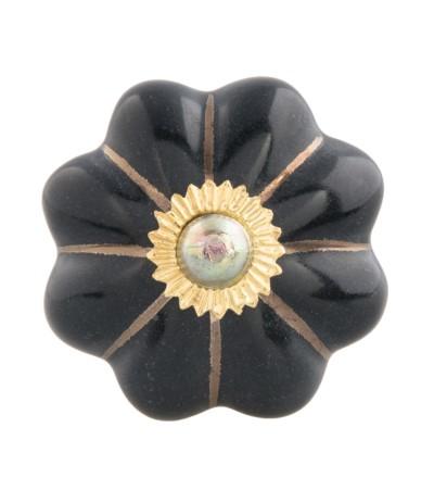 Clayre Gałka czarno- złota 3,5cm